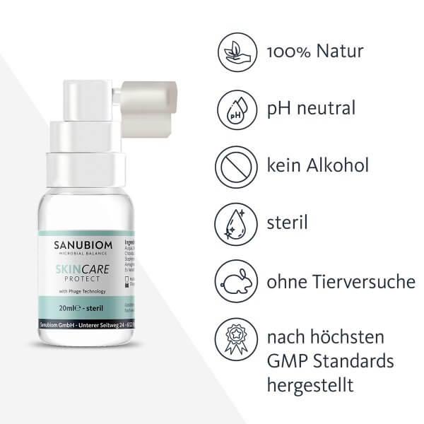 Sanubiom SkinCare Protect mit Phage Technology pH Neutral, ohne Alkohol, frei von Cortison und steril – dermatologisch getestet